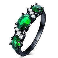 Mode stijl regenboog mystic ovale a + groene cz zirkoon trouwring voor vrouwen dame zwart goud gevuld engagement liefde partij anel groothandel