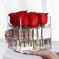 Clear Acrylic Rose Flower Box Organizador de Maquillaje Artificial Flower Bouquet Flower Gift Box Día de San Valentín Decoración de la Boda Regalo