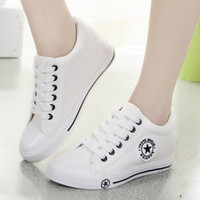 Hot Sale-eakers Women Trainers Wedges Casual Canvas Shoes Female Basket Femme ladies White Black zapatillas mujer tenis feminino