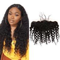 Bella Hair 13x4 Кудрявая волна бразильского индийского перуанского кружева лобовое закрытие укрывает натуральный натуральный черный цвет