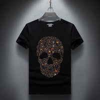 JanuarNow Mode Designer Sommer Top Mens Schädel Strasssteine T Shirts Modal Baumwolle O Neck Kurzarm Slim T Shirt Freies Verschiffen