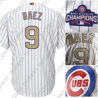 100% embroidery Custom Javier Baez jerseys Gold Program Stit...