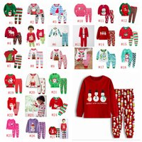 Baby Christmas Theme Suit 27 Designs Boys Cartoon Santa Claus Striped Casual Outfits Kids Designer Clothes Girls Cotton Printed Sets RRA2221