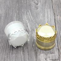 15g 20g Kosmetische Creme Flasche Glas leeren Kosmetikbehälter mit Kronenformkappe Weißgold Silber