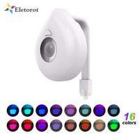 16 Farben WC-Nachtlicht intelligente PIR Körperbewegungs-Sensor-LED Toilettensitz Lampe Bewegung aktiviert WC Badezimmer Bowl Nachtlampe
