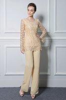 Champagne-Spitze-Mutter der Braut Hosenanzug Zwei Stücke Juwel-Ausschnitt Günstige Mütter Formal Outfit Langarm Pantsuits