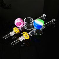 Mini Kits NC pequeño kit nuevo cristal Nector Colector Con 10mm 14mm cuarzo puntas de plástico Clip Tubos Cilicone Cera de petróleo de contenedores para la paja