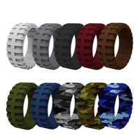 Silicone Rings Tire Tread Design Rubber Wedding Bands for Me...