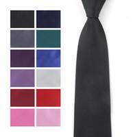 Mens Solide Polyester Textile Cravates couleur pure cou Cravates hommes Cravates Retour cravate, vert, cravates roses
