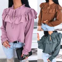 새로운 2020 여자 숙녀 레이스 프릴 시폰 블라우스 V 목에 넥타이 긴 소매 셔츠 플러스 사이즈 탑