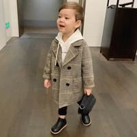 Lattice de alta qualidade casaco de lã casaco para meninos moda outono inverno jaqueta menino windbreaker crianças casaco de inverno
