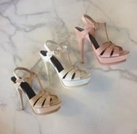 حار بيع الحلوى اللون عاري أسود براءة اختراع جلد الصليب Strappy صندل منصة T-بار أحذية الكعوب العالية الخنجر السيدات اللباس أحذية العروس