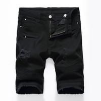 Men Denim Shorts Knee Length Slim Fit Large Size Black And White Hole Worn Out Biker Short Jeans