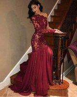 2020 Новое платье на одно плечо с длинным рукавом с кружевной аппликацией из шифона и тюля Вечерние платья для выпускного вечера Robe De Soiree