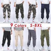 8XL Hombres Otoño Casual streetwear Military Camo Cargo Pantalones Pantalones Hombres Traje Invierno Hip Hop Camuflaje Algodón Pantalones de bolsillo Hombres Fleece Warm