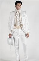Populaire mandarin revers broderie garçons d'honneur un bouton marié smux smokings hommes costumes mariage / prom meilleur homme blazer (veste + pantalon + cravate) E04