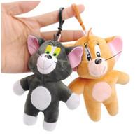 2PCS القط TomJerry ماوس أفخم لعبة الدمى لطيف حيوانات محشوة لعب الاطفال سلاسل قلادة الصغيرة الحلي مجموعة محشوة هدية مفتاح الدائري