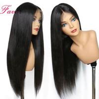 Doğal Renk İpeksi Düz 100% İnsan Saç Tam Dantel Peruk Uzun Uzunlukta Ön Dantel Peruk Siyah Kadınlar için% 180 Yoğunluk
