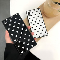 Square Love Heart Phone Case For iPhone X XR XS Max Glossy T...