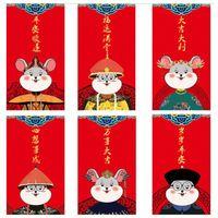 Caja de regalo de dinero Fiesta de la Primavera del regalo de boda Bolsas sobres rojos novela china Lucky paquetes rojos paquete para 2020 Rata Año Nuevo