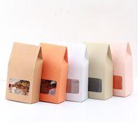 50 pc caixa de presente de papel kraft Sacos de papel marrom levantar sacos janela para casamento / presente / jóias / alimentos / doces sacos de embalagem 8x15.5x5 cm