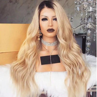 Hot Selling Free Part Ombre Wig With Dark Roots Blonde Wig G...