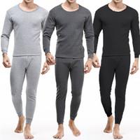 남성 두꺼운 내부는 열 긴 존스 파자마 세트 겨울 따뜻한 속옷 바지 라운드 넥 남성 속옷 열 속옷 세트 착용