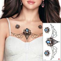 Pendente dei monili petto tatuaggi temporanei per le donne sterno impermeabile della vita Blue Diamond Flower Necklce disegni del tatuaggio adesivi bellezza TL-146