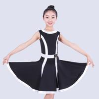 Sahne Giyim Latin Dans Etek Kız Beyaz / Siyah / Kırmızı Kolsuz Rumba Uygulama Elbiseler Çocuklar Profesyonel Samba Performans Kostüm DQL1318