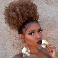 Puff Afro lockige Perücke Pferdeschwanz Drawstring Hochtemperaturfaser-Kurz Afro verworren Pferdeschwanz-Klipp-in auf synthetischem lockigen Haarknoten