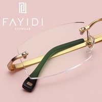 Metal women Rimless glasses frame optical transparent clear ...
