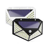 Lâmpadas solares de grande angular 100leds 1200LM LED solar LED Garden Light Pir Motion Sensor de parede solar