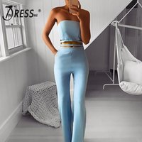 INDRESSME 2019 New Strapless Hollow Out Sleeveless Flare Leg...