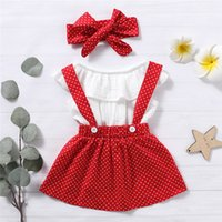 Newest 3Pcs Baby Toddler Girls Kids Dot Print Suspender Skir...