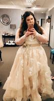 Dantel Boncuklu 2020 Arapça Artı boyutu Gelinlik V yaka Uzun Kollu Katlı Gelin Elbiseler Seksi Vintage Ucuz Gelinlikler vestido de Noiva