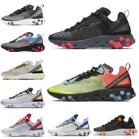 Nuevo Nike React Element 87 55 SE cosido con cinta Costuras Hombres Mujeres Zapatos para correr Royal Tint Metallic Gold Anthracite Mens Trainer Sports Sneakers 36-45