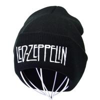 Led Bant Zeppelin Kaya Şapka Örme Halk Kaya Kap Beanie Punk Mektup Nakış Kış Erkekler Kadınlar Için Sıcak Şapka Hip Hop Beanies
