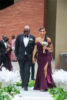 Uva púrpura de la sirena de hombro Vestidos de dama de honor barato africano africano Talla grande Vestido de baile de fiesta alto Split Split Formal Wedding Gown Gown