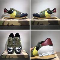 Scarpe nuove [Scatola originale] Moda Stud Camouflage Sneakers Scarpe Calzature Uomo, Donna Appartamenti Designer di lusso Scarpe da ginnastica Rockrunner Scarpe casual