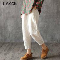 Женские брюки Capris Lyzcr Plus Размер хлопчатобумажной белья Летняя свободная гаремская линия для женщин Высокие талии Брюки женские