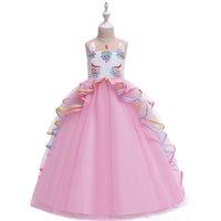 Licorne Flower Girl Robes Pour Mariage Enfants Designer Vêtements Vêtements Filles Dress Longues Filles Robes Robe Princesse Robe Gros Enfants Robes A6041