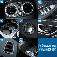 Réel en fibre de carbone arrière Climatisation Panneau d'échappement pour cadre Couverture autocollant Mercedes Benz Classe C W205 GLC Voiture Intérieur Accessoires