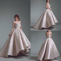 2019 Ashi Studio A Line Liebsten Prom Kleider Spitze Applique Backless Rüschen High Low Abendkleider Upscale Formales Partykleid