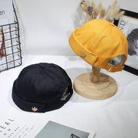 커프 버킷 캡 Brimless 모자 단색 조정 코튼 모자 압연 남성 여성 Skullcap 선원 캡 잎 리벳 자수 따뜻한