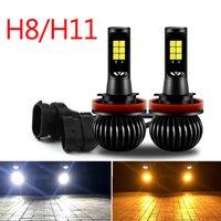 2PCS COB LED H11 H8 Bulbs White & Yellow Dual Color Fog Light Lamps Kit 12V