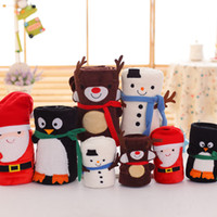 الرسوم المتحركة عيد الميلاد الفانيلا غطاء طوي بابا نويل ثلج البطريق دير نمط السجاد قابل للغسل الدفء لينة رمي البطانيات XD22815