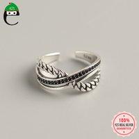 Klaster pierścienie Elfoplatasi Oryginalne 925 Sterling Silver Słodka Trójwarstwowa Czarny Cyrkon Pierścień Otwierający Dla Kobiet Wedding Party S925 Biżuteria Y3-25