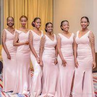 핑크 펄 Mermiad 신부 들러리 드레스 저렴한 롱 V 목 웨딩 게스트 가운 흑인 소녀 댄스 파티 가운