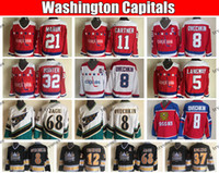 Vintage Washington Capitals 8 Alex Ovechkin 68 Jaromir Jagr 37 Kolzig 5 Rod Langway 21 Dennis Maruk Mike Gartner Friesen Hockey Trikots