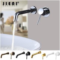 JIENI Wall Mounted Brass Basin Faucet Single Handle Mixer Ta...